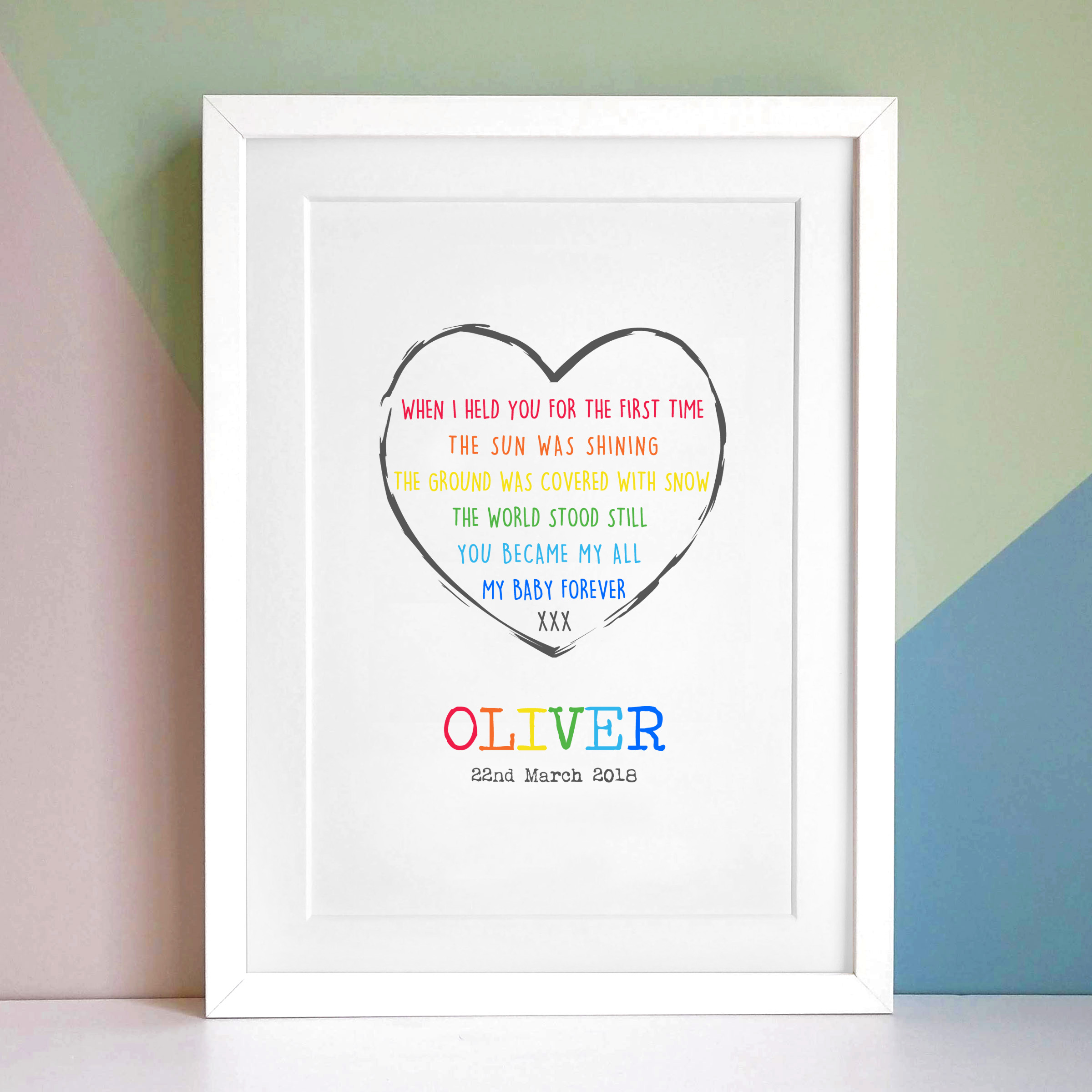 Personalised New Baby Print Poem A4 Frame
